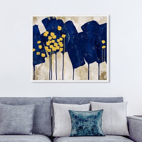 Oliver Gal 'Sapphire Movement' Abstract Wall Art Framed Print Paint - Blue, Yellow