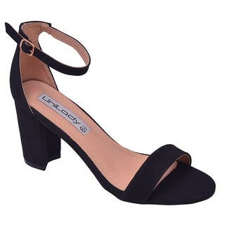 77d5f0ae4f5810 Unilady Adult Black Buckled Ankle Strap Open Toe Heeled Sandals
