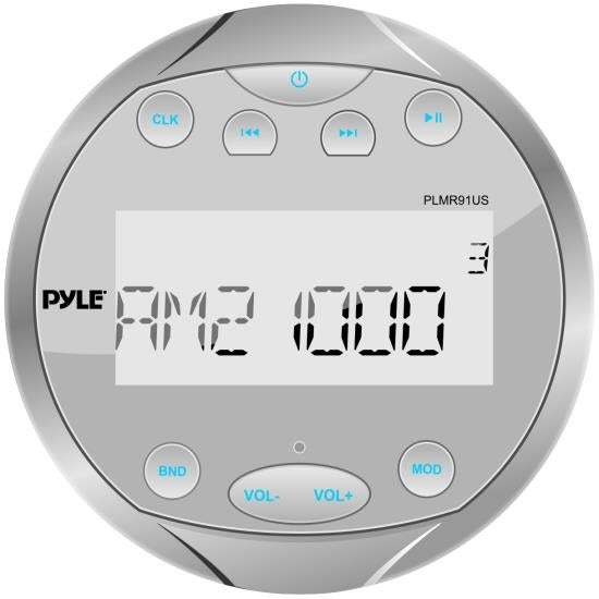 Waterproof Bluetooth Marine Digital Media Receiver Stereo Radio (USB/MP3 & AUX Inputs) AM/FM Radio, Round/Circle, Silver