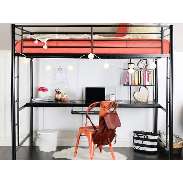 Shop Offex Premium Metal Full Size Loft Bed with Wood ...