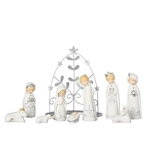 """9 Pack Set of Bisque Silver Nativity 9.5"""" - WHITE"""