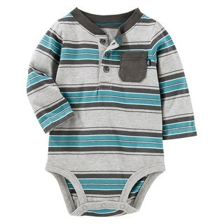 OshKosh B'gosh Baby Boys' Striped Henley Bodysuit, 18 Months - gray