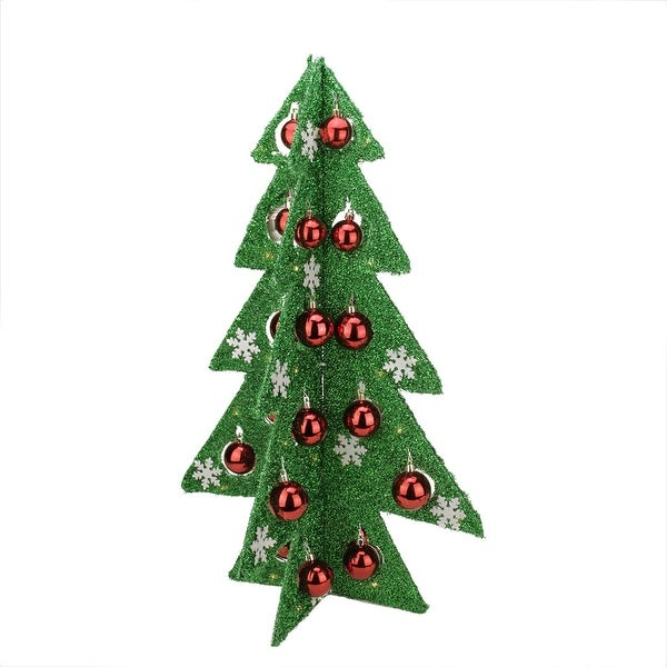 """28"""" Battery Operated Decorated Green Tinsel LED Lighted Christmas Tree Table Top Decoration"""