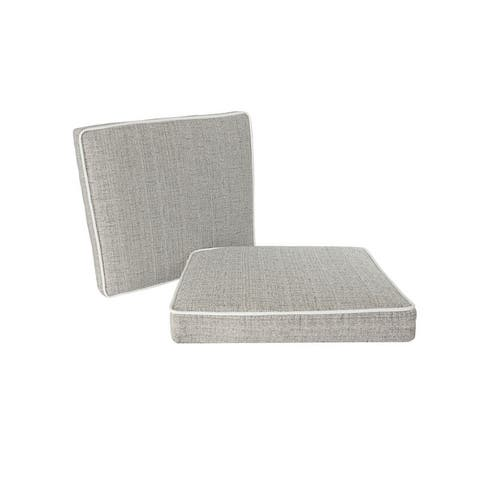 """Outdoor/ Indoor Deluxe Dining Seat Cushion for Patio Furniture, 18"""" x 19"""" x 3"""" (2 Pack)"""