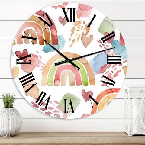 Designart 'Multicolored Rainbows Clouds and Hearts' Children's Art wall clock