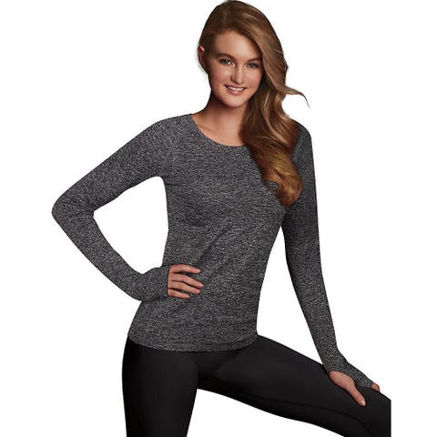 Maidenform Baselayer Thermal Crew - Color - Charcoal Grey Heather - Size - L