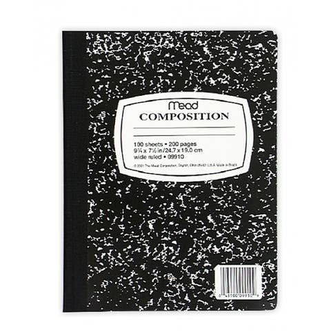 """Mead 09910 Black Marble Composition Book, 7-1/2"""" x 9-3/4"""", 100-Count"""