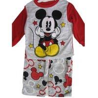 Disney Little Boys Grey Red Mickey Mouse Cartoon 2 Pc Pajama Set 2T-4T