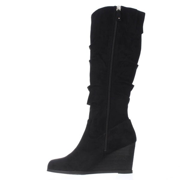 Dr. Scholl's Womens Poe Fabric Closed Toe Knee High Fashion, Black WC, Size 9.5