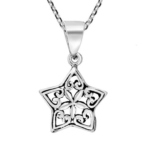 Handmade Sweet Romance Heart Floral Star .925 Sterling Silver Pendant Necklace (Thailand)