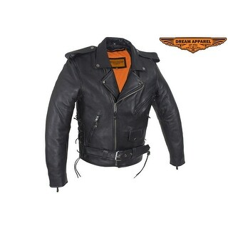Mens Classic Police Style Motorcycle Jacket With Side Laces - Size - 44