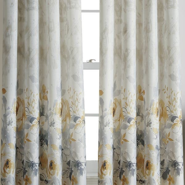 Watercolor Floral Flip Over Rod Pocket Single Curtain Panel Overstock 23540992