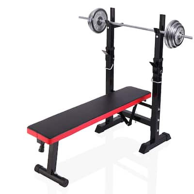 Folding Weight Bench With Rack Adjustable Lifting Strength Training