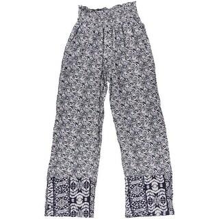 Rewash Womens Juniors Printed Smocked Casual Pants - M