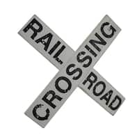 Black & White Distressed Wood Railroad Crossing Sign Wall Hanging