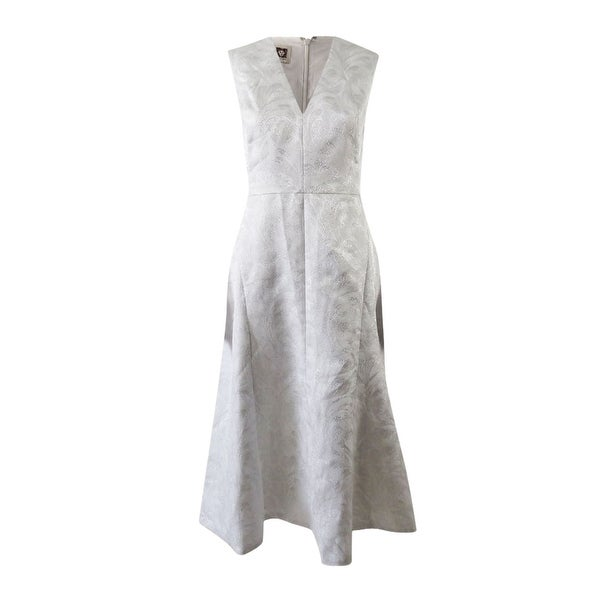 Shop Anne Klein Women S Jacquard Seamed Fit And Flare