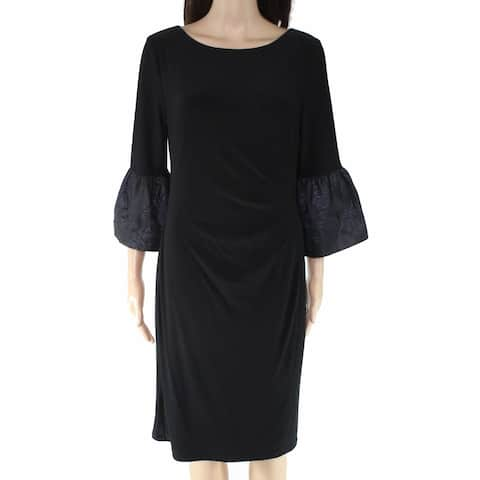 Lauren by Ralph Lauren Womens Sheath Dress Black Size 6 Bell Sleeve