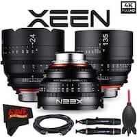 Rokinon Xeen 14mm T3.1 Lens for PL Mount + Rokinon Xeen 24mm T1.5 Lens for PL Mount + Xeen 135mm T2.2 Lens with PL Mount Bundle