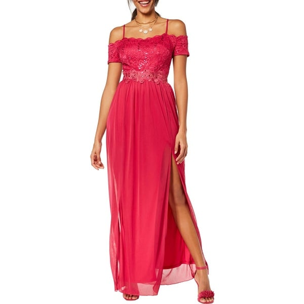 BCX Womens Juniors Evening Dress Lace Off-The-Shoulder