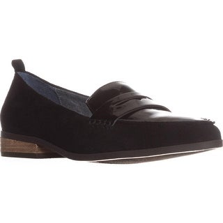 Dr. Scholls Eclipse Flat Penny Loafers, Black Suede
