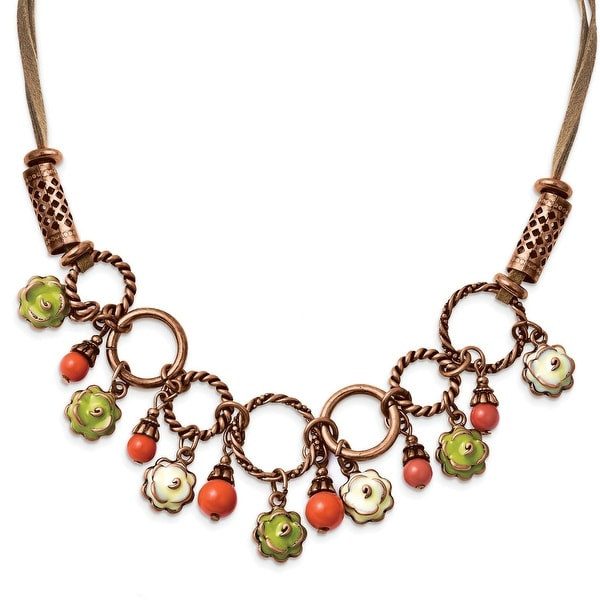Copper Green Enamel, Orange Beads Necklace - 16in