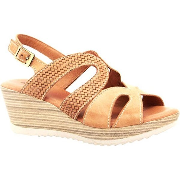 Dromedaris Women's Lauren Slingback Sandal Salmon Waxed Leather