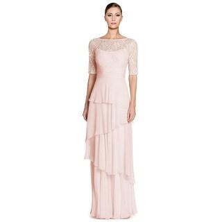Teri Jon Lace Bodice Tiered Chiffon Evening Gown Dress - 4