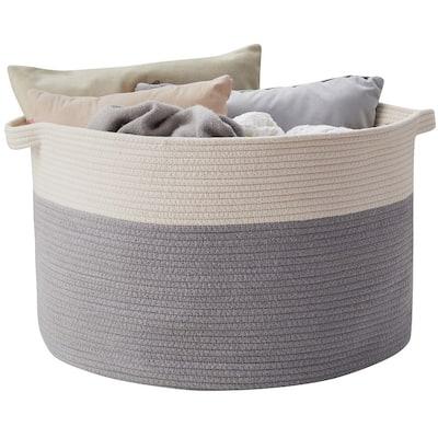 Cotton Rope Storage Basket Bin with Handles - Baby Nursery Laundry Basket Hamper, Toy Storage Basket