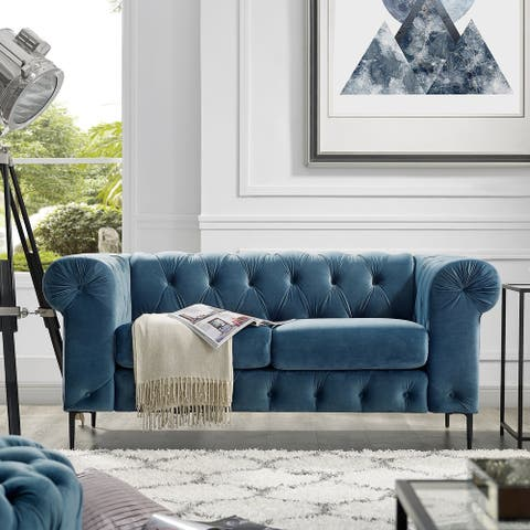 Corvus Prato Tufted Velvet Chesterfield Loveseat Sofa with Rolled Arms