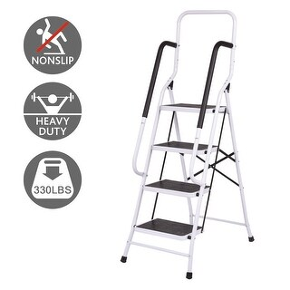 Costway 330Lbs Load Capacity Non-slip 4 Step Ladder Folding