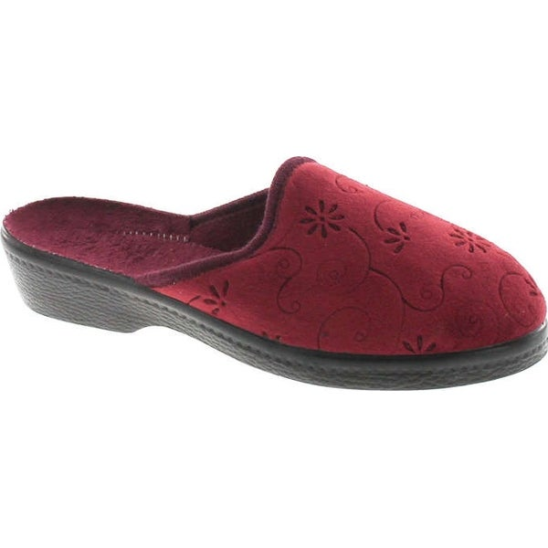 Sc Home Collection Womens 152 Closed Toe Low Wedge Plush House Slippers Made In Europe