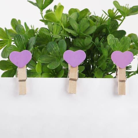 "50pcs Card Photo Clothes Love Heart Craft Spring Pegs Mini Wooden Clip - 1.2"" x 0.7"" x 0.4""(L*W*T)"