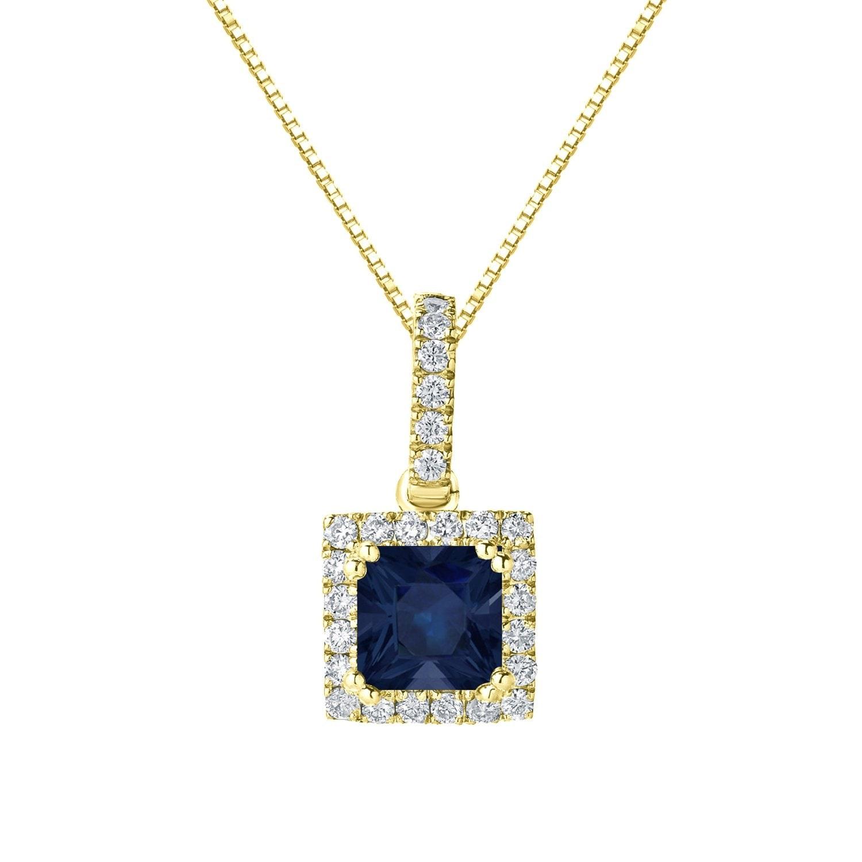 "1 ct Princess Cut Classic Pendant 16/"" chain 14k Yellow Gold White Sapphire"