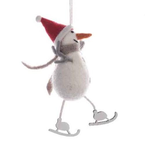 Felt Snowman on Skates Ornament