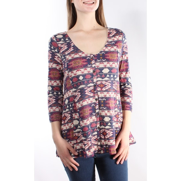 LUCKY BRAND Womens Pink Tribal 3/4 Sleeve V Neck Top Size: XS
