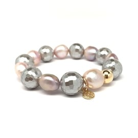 Grey & Pink Baroque Pearl 'Grace' stretch bracelet 14k Over Sterling Silver