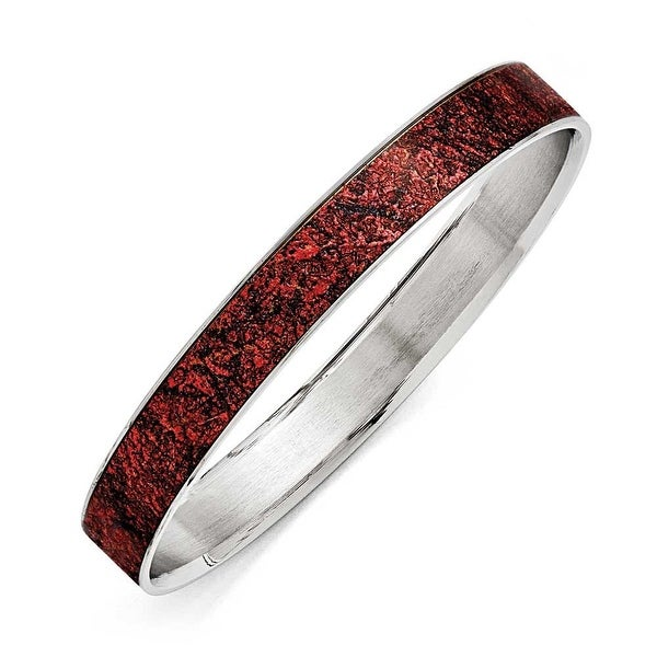 Chisel Stainless Steel Polished Red/Black Enameled Wide Bangle