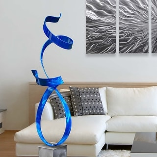 Statements2000 Large Abstract Metal Sculpture Modern Garden Art Decor by Jon Allen - Blue Allure with Silver Base