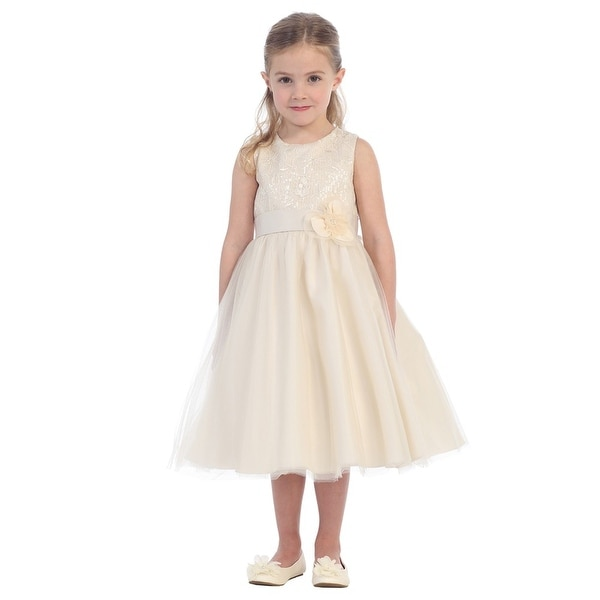 Champagne and Lace Junior Bridesmaid Dresses