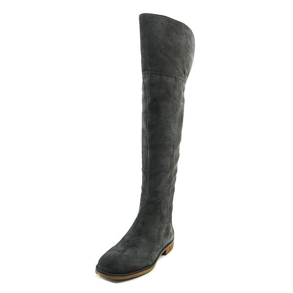 Franco Sarto Carlisle Women Round Toe Suede Gray Over the Knee Boot