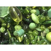 Stanislaus Glass Bead Mix, 1 Pound, Shades of Green