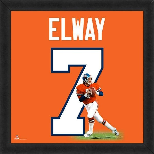 the latest b9929 d4555 John Elway Framed Denver Broncos 20x20 Jersey Photo