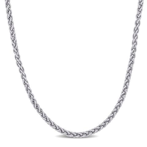 Miadora Sterling Silver Wheat Link Chain Necklace