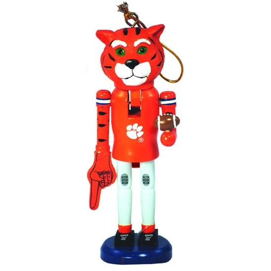 "6"" NCAA Clemson University Tigers Mascot Wooden Nutcracker Christmas Ornament - ORANGE"