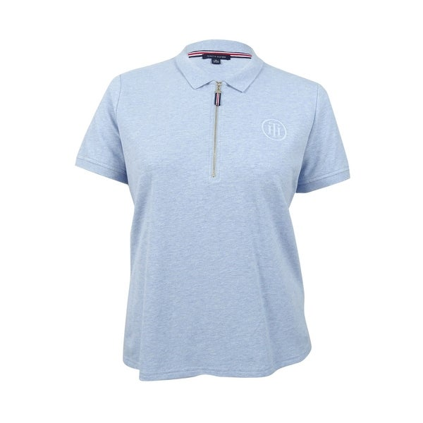b9f0daf58f Shop Tommy Hilfiger Women's Zip-Up Polo Top (XL, Chambray Blue) - chambray  blue - xL - Free Shipping On Orders Over $45 - Overstock - 19771355