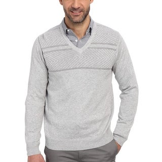 Perry Ellis Mens Textured V-Neck Sweater Alloy Grey Heather X-Large