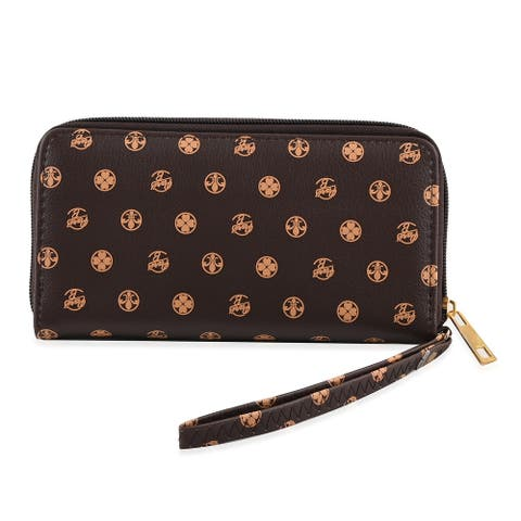 Shop LC Brown Floral Pattern Faux Leather Assorted Ladies Wallet Multi - 9x8.5 inches