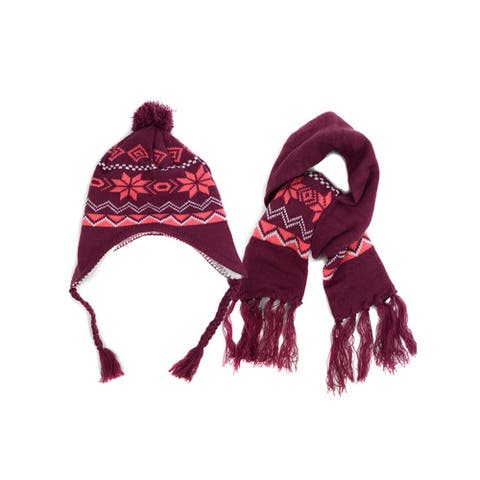 Kids Girls Purple & Pink Snow Flake Knitted Pom Trapper Hat and Scarf Set - One Size