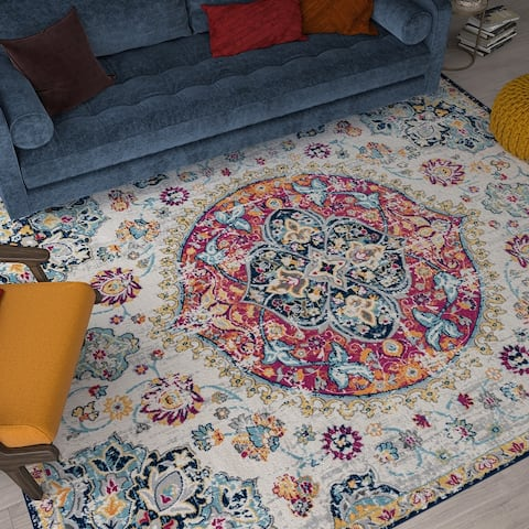 Alise Rugs Dynah Transitional Medallion Area Rug