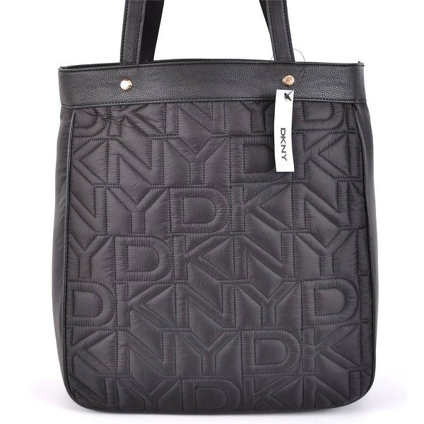 Dkny Donna Karan Black Quilted Nylon Logo Purse Bag Tote Per